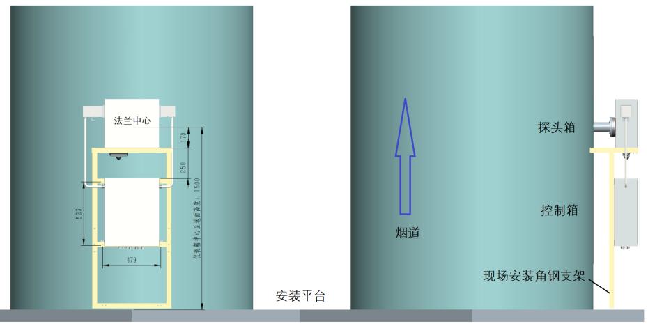 在线监氨逃逸测系统安装尺寸图